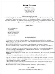 Example Of Construction Resume Construction Site Supervisor Resume Template Best Design