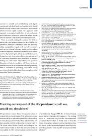 treating our way out of the hiv pandemic could we would we first page of article