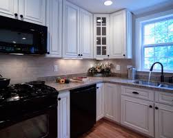 White Granite Backsplash Tile Modern Wood Dark Cabinets Kitchens ...