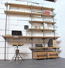 ine reclaimed scaffolding boards and dark steel pipe industrial desk and shelves with storage boxes on wheels