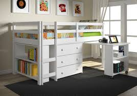 Full Size Loft Bed With Desk And Storage Bunk Beds Armless Wooden Chair  Rectangle Shape Storage