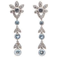 aquamarine diamond platinum drop earrings at 1stdibs