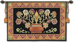on tapestry art designs wall hangings with mexican potted floral folk art tapestry wall hanging 53 x 36