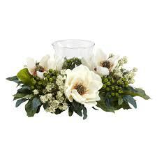 Silk Arrangements For Home Decor Nearly Natural 65 In H White Magnolia Candelabrum Silk Flower