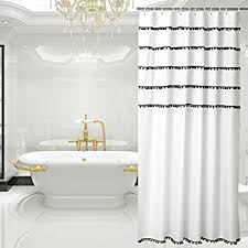 black and white shower curtains. White Shower Curtain With Black Tassel Design, Fabric Mildew Resistant, 72 X And Curtains U