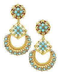 24k gold plate chandelier clip on earrings seafoam