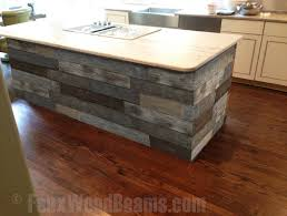 reclaimed barn board panels can also be used to decorate kitchen islands