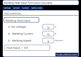 Welding Heat Input Calculator