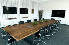 white conference room table white round meeting tables glass furniture varnished teak wood plank top surface