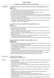 Applications Development Programmer Analyst Resume Samples Velvet Jobs