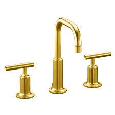 kohler purist vibrant modern brushed gold 1 handle single hole bathroom sink faucet
