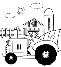 Small Picture coloring pages of a vintage tractor In front of country farm