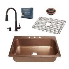 copper sink faucet. Modren Copper SINKOLOGY Pfister AllinOne Angelico Copper Sink 33 In Dropin On Faucet O
