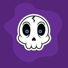 cartoon skull sticker vector
