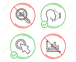 Click Chart Diagram Do Or Stop Click Here Data Analysis And Face Id Icons Simple