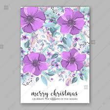 Violet Amenone Wedding Invitation Card Vector Floral Illustration Invitation Template