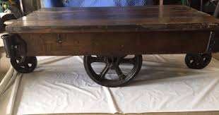 Industrial Factory Cart Coffee Table Factory Cart Coffee Table Wheels Home Design And Decor Antique