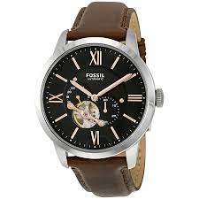 fossil townsman mechanical black dial brown leather men s watch me3061
