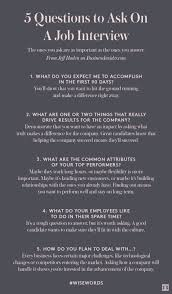 Five Questions To Ask On A Job Interview Job Interviews Photo