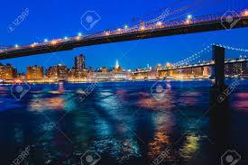 Brooklyn Bridge Lights Manhattan Brooklyn Bridge East River Lights In Nighttime