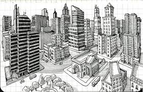 perspective drawings of buildings. Perspective Drawings Of Buildings Draw A City Block In 2 Point Art