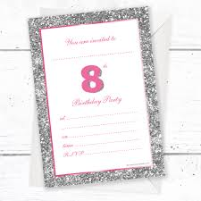 8th Birthday Party Invitations 8th Birthday Party Invitations Pink Sparkly Design And Photo