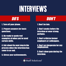 The Do S And Don Ts Of An Interview 5 Interview Dos And Donts