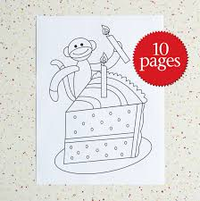 Small Picture Colouring Pages Birthday Sock Monkey Birthday Coloring