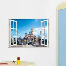 Small Picture Exotic Beach View 3D Window Decal Castle WALL STICKER Home Decor
