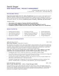 Web Production Project Manager resume template. Accomplishment ...
