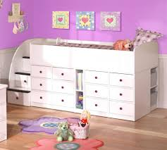 f amusing purple kids room design with white wooden loft beds completed with storage drawers built in ladder as well as sweet florals carpet floors amusing cool kid beds design