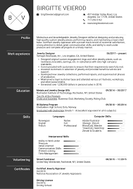 Resume Examples By Real People Jewelry Designer Resume Sample