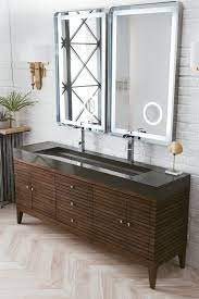 72 Linear Double Bathroom Vanity Mid Century Walnut
