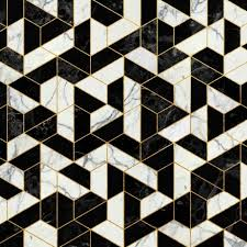 Floor Pattern New Black And White Marble Hexagonal Pattern Art Print By Santo Sagese