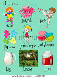 stock vector many words begin with letter j illustration