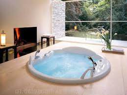 Bathroom:Winsome Round Jacuzzi Hot Tub Design Insert On Floor As Well  Flower Vase Beside
