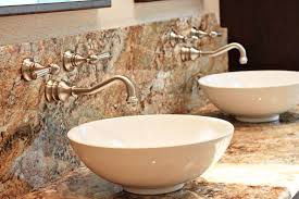 wall mounted faucets bathroom. Prestigious Gold Wall Mount Faucet On Marble Frame Mixed With Bowl Shaped Porcelain Sink Mounted Faucets Bathroom E