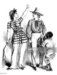 Antique Engraving Illustration Couple With Little Boy Stock