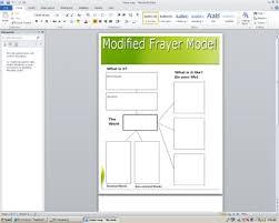 Frayer Model Map Modified Frayer Model Vocabulary Map