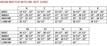Aidan Mattox Size Guide