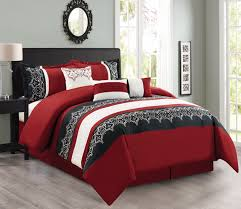 interesting design black and white comforter features white red black colors patterned comforter and black color bed frame with high headboard