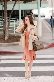 a c wrap dress with s a tan short trench metallic shoes and a