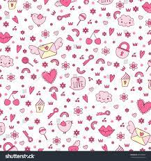 Seamless Cute Icon Love Vector Pattern ...