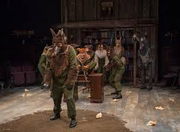 stage and cinema theater review animal farm steppenwolf theatre boxer matt kahler completes a hard day s work while cheered on by his fellow