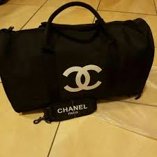 chanel duffle bag. authentic chanel vip nylon travel duffle bag