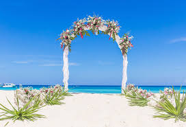 Wedding Photo Background Us 9 62 35 Off Summer Sea Beach Wedding Photo Booth Background Blue Sky Flowers Decorated Arch Door Party Themed Photography Backdrops In Background