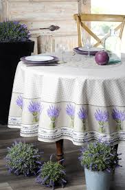 stain resistant round 70 tablecloth poppies and lavender off white cotton acrylic coated stain resistant tablecloth holiday