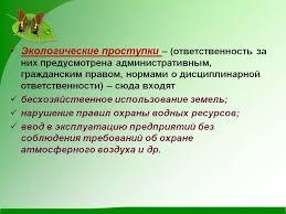 Административная ответственность за экологические правонарушения Административное ответственность за экологические правонарушение реферат