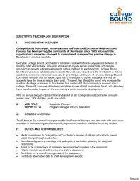 Substitute Teacher Cover Letter Example Substitute Teacher Resume
