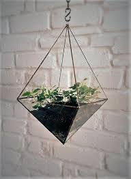 hanging glass terrarium space saving octahedron geometric hanging garden gift for her air plant gift stained glass